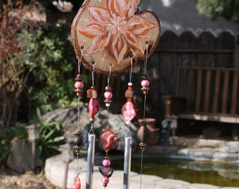 """21"""" Handpainted Windchime Coral Shell and Polished Aluminum Chimes"""