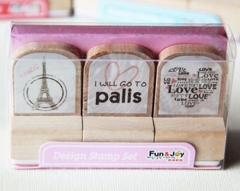 3 Designs Wooden Rubber Stamps Set 2 - France Paris. Travel Journal Stamps. Love. Heart -  3cm x 3cm - Scrapbooking. Cardmaking. Tag Making