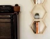 Sprin Sale // 10% off Set of 3 Natural Finish Floating Honeycomb Shelves