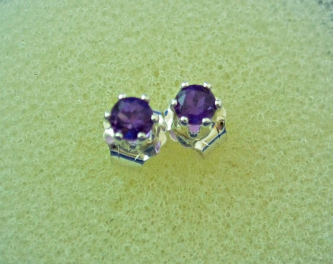 Amethyst Stud Earrings, Petite 3mm Round, Natural, Set in Sterling Silver E525
