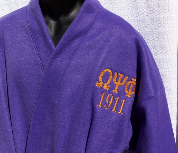 OMEGA PSI PHI Purple Kimono Fleece Greek Letter Monogrammed Bathrobe Size Medium