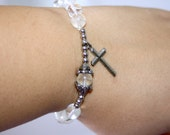 Glow in the Dark Cross Handmade Bracelet