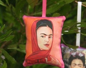 EASTER SALE Pink Frida Kahlo Rose & Lavender Sachet / Christmas Ornament - Mexican Decor, Christmas Decorations, Mexican Christmas Party