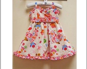 Adorable girls dress sewing pattern, Little Cup Cake pdf dress pattern sizes 1-10 yrs, baby, toddler, girls dress pdf sewing pattern