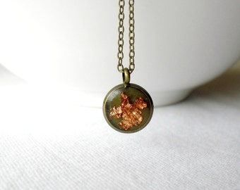 Tiny rose gold necklace-Unique pendant- Delicate dainty jewelry