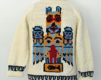 Tiki Totem Cowichan Sweater, mens sweater, hand knit wool sweater, native art 553.101.mto