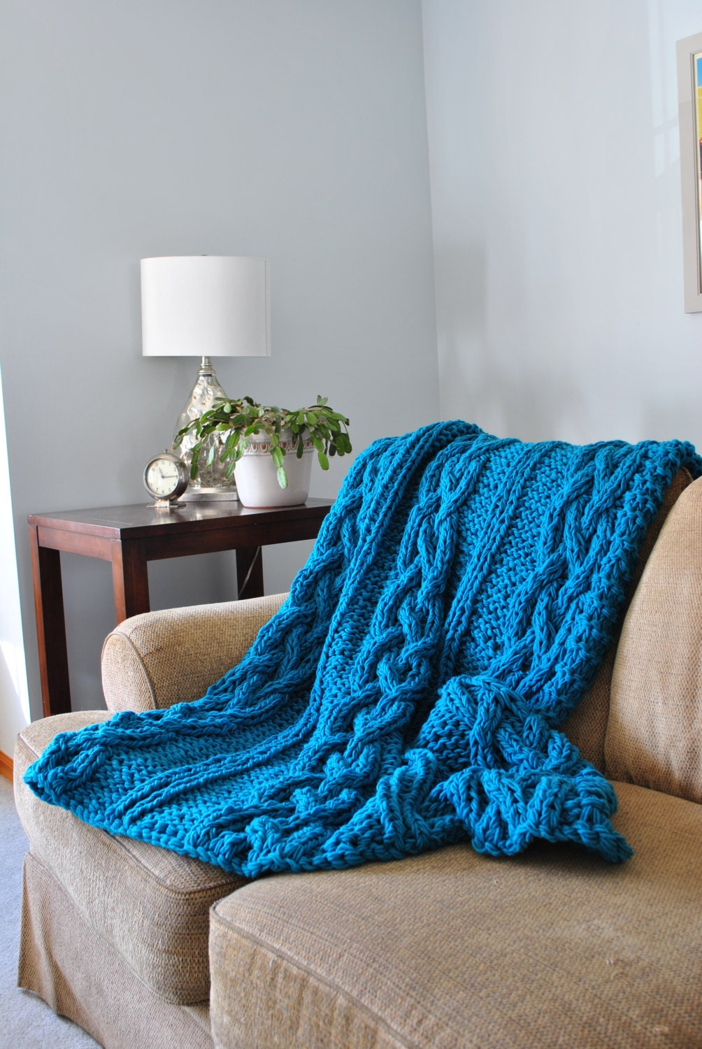 Chunky Cable Knit Blanket In Turquoise Irish By