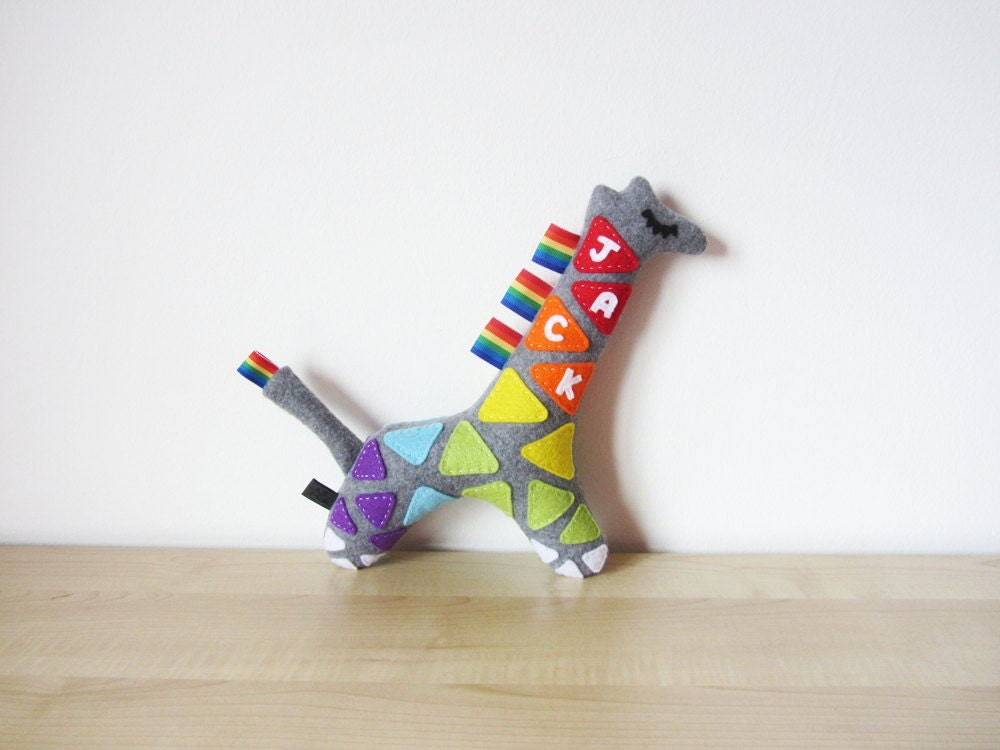 personalised baby toy name giraffe by madebyedengrace on etsy. Black Bedroom Furniture Sets. Home Design Ideas