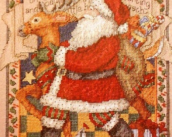 Leisure Arts Santa's Great Book Counted Cross Stitch Charted Designs Christmas Needlework Patterns To Stitch
