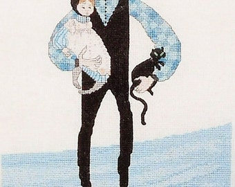 P Buckley Moss - Dad's Loving Arms Primitive Counted Cross Stitch Father and Infant Son