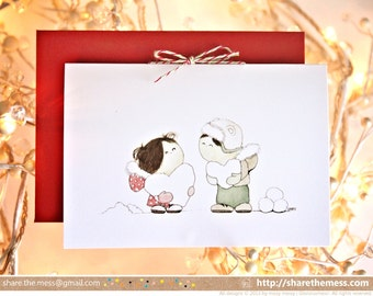 "Sweet Christmas Card - ""Sharing the Love""  Illustrated Childrens' Art with Glittery Snow Hearts"