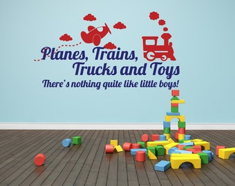Playroom Decal Planes, Trains, Trucks and Toys Boy Wall Decal Playroom Wall Decal Baby Boy Nursery Decor