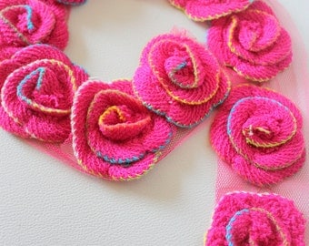 Pink Crochet Wool Rose Flower Appliqué x 2