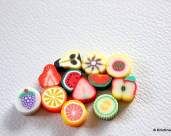 20 x Polymer Fimo Clay Mixed Fruit  Beads