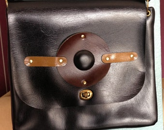 Black Mod Purse, 1970's Handbag, Vinyle Abstract Purse, Black and Brown Handbag