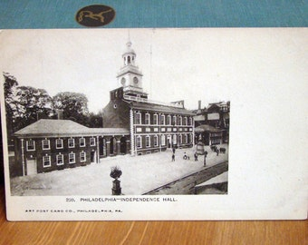 Antique Postcard, Independence Hall, Philadelphia, 1900s Vintage Paper Ephemera