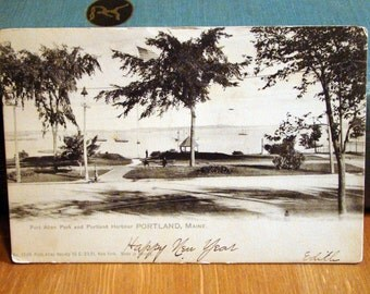 Vintage Postcard, Fort Allen Park, Portland Harbor, Maine, Early 1900s Paper Ephemera