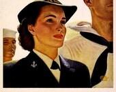 US Navy, WAVES,  Advert Print, 1940s, WWII