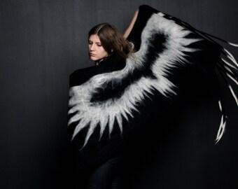 Feutre de laine mérinos châle/enveloppe/couverture de Corbeau blanc cadeau Unique
