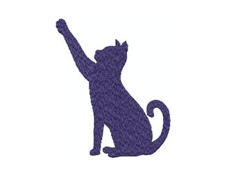 Machine Embroidery Design Instant Download - Cat Sitting 2 silouette