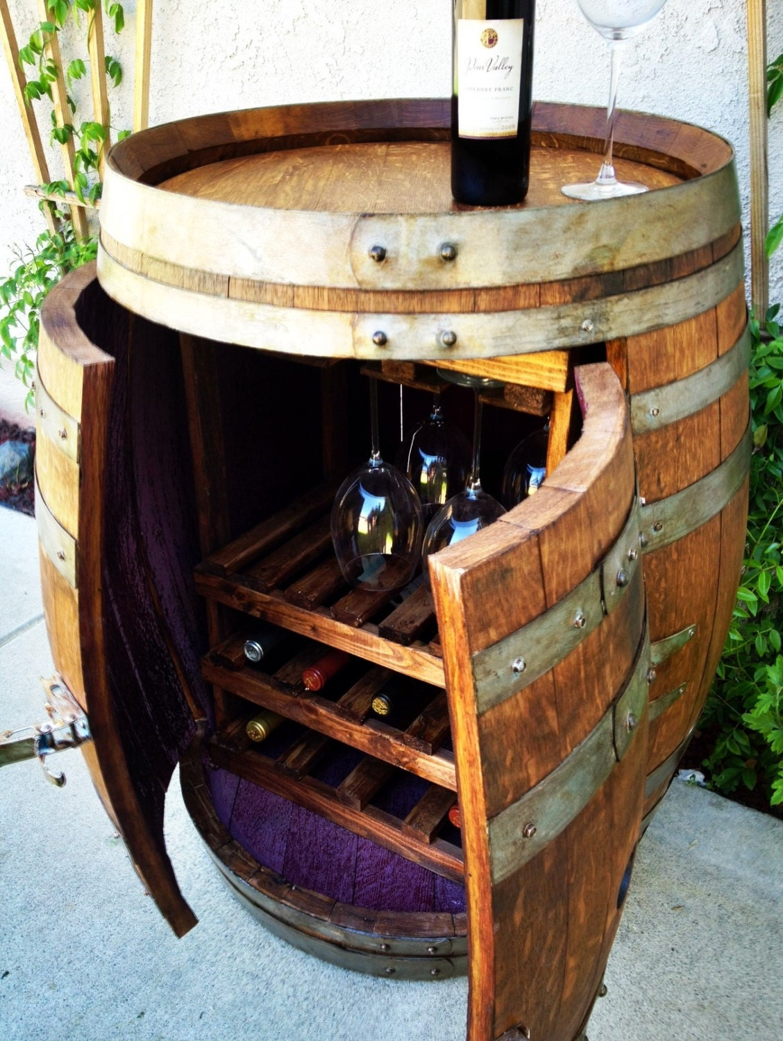 Wine Barrel Cabinet With Wine And Glass Storage
