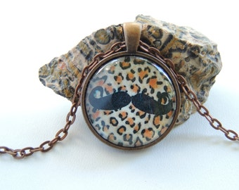 SALE Leopard Print Mustache Necklace, Hipster Necklace, Mustache Jewelry. A390