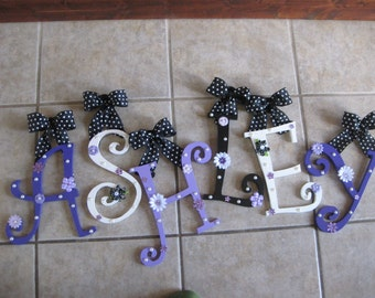 CUSTOM Purple Black & White Wooden Hanging Wall Letters for Nursery or Child's Bedroom - Designed by a Professional Artist