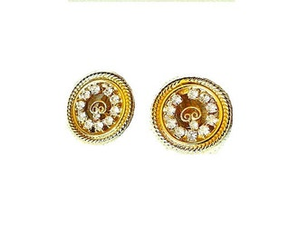 Vintage Rhinestone and Gold Tone Circular Clip On Earrings, Costume Jewelry