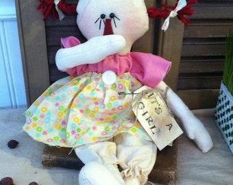 "Primitive Raggedy Ann Baby Girl Doll ""It's A Girl"""