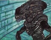 Aliens Xenomorph Print Movie Giger Biomech Chase and Run Bleak Black Green Graphic Alien Art