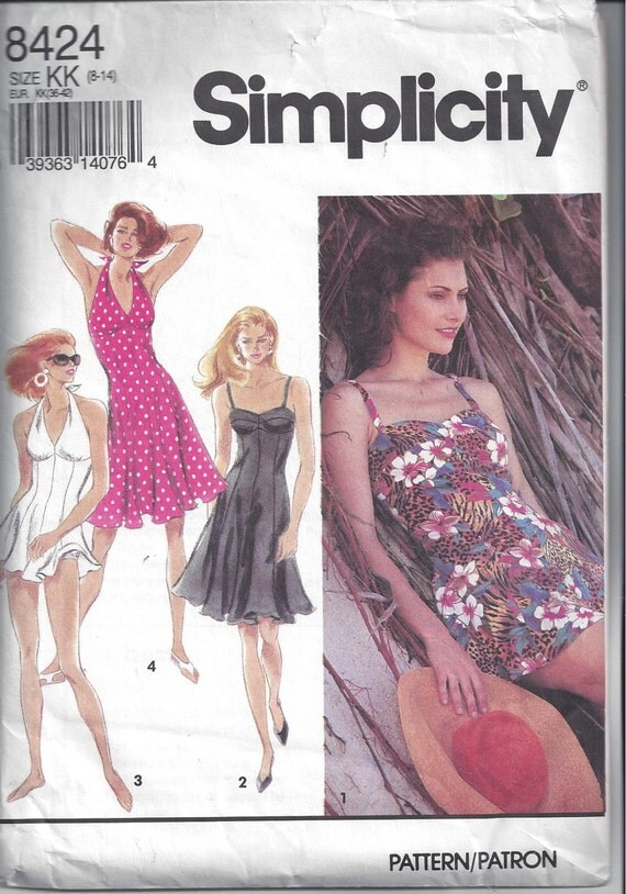 Simplicity 8424 Pattern for Misses' Dress, Bathing Dress in 2 Lengths, Panties, Size 8 to 14, From 1993