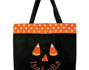 Halloween TRICK or TREAT Bag Goody Bags in Jack-O-Lantern, Pumpkin, Ghost and Various Other Designs with Optional Ribbon or Ric Rac
