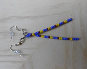 Pierced glass stick earrings beaded Sticks in glass