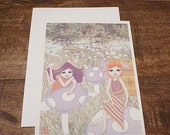 Mushroom Fairies - Flat Note Cards - Greeting Card - Fantasy, Whimsical, Girl, Orange, Purple, Children, Sisters