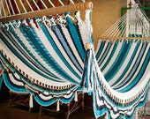 "Blues & White Handwoven Hammock Natural Cotton / Thread Thickness ""42"" (Very Durable)"