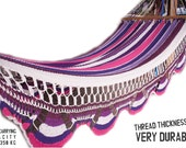 "Pinks & White Handwoven Hammock Natural Cotton / Thread Thickness ""42"" (Very Durable)"