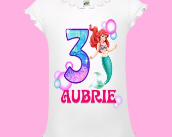 Little Mermaid Birthday Shirt - Purple Pink and Green
