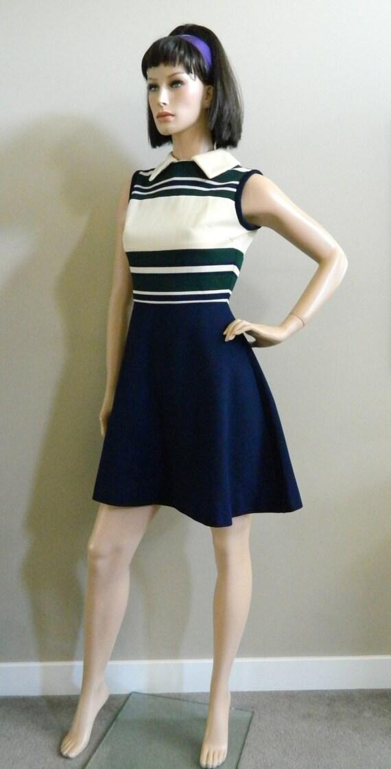 1960 S Mod Mini Dress School Girl Color Block Mod By Sugarslax