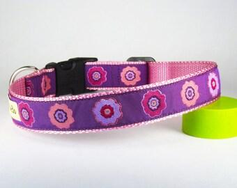 "Purple & Pink Flowers Dog Collar, 1"" Wide"