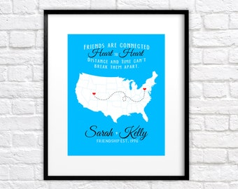 Birthday Gift for Best Friend, Sister, Cousin -  Art Print, Map with Locations - BFF Quote, Long Distance, Moving Away, Hometown, Bestie