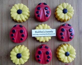 LADYBUG and SUNFLOWER Chocolate Covered Oreos (12) - LADYBUG Birthday/Garden Party