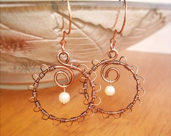 Wire Wrapped Earrings Old-Looking Copper - Handmade Copper Earrings - Copper Jewelry