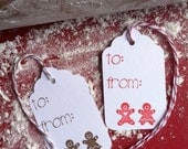 Gingerbread Gift Tags, Christmas Gift Tags, Gingerbread  Couple, set of 12