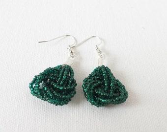 Emerald green earrings, seed bead earring,dark green earrings,knot green earrings,beaded earrings,seed bead earrings,bridesmaid gift,wedding