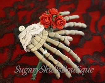 Day of the Dead, Book of Life Inspired, Halloween Sugar Skull Hair Clip Accessory, Dia de los Muertos, Skeleton Hands, Steampunk
