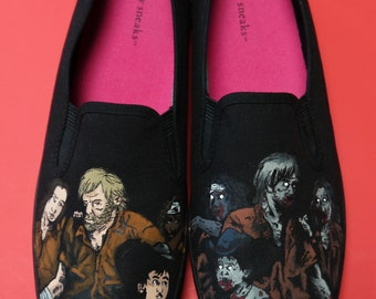"Custom Hand Painted Shoes, ""The Walking Dead"" comic style"