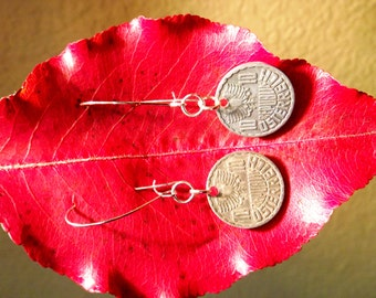 SALE  Vintage Coin Earrings, Austrian Ten Groschen Coins