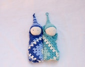 Waldorf Gnome Security Blanket - In Blue/Sky Blue/Ivory or In Dark/Light mint green/Ivory - Security Blanket - Eco friendly baby toy