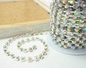 Silver Rhinestone Chain, AB Crystal Trim, (6mm / 1 Yard Qty)