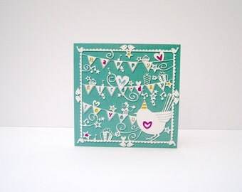 Happy Bird-day bunting, papercut style square greeting card.